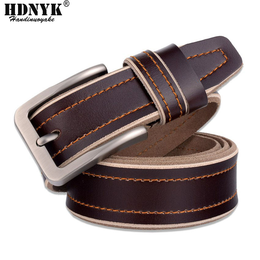 New Arrival Casual 100% Genuine Leather Men Belt Free Shipping Retail New Brand Men Belt Metal pin Buckle Strap for Men