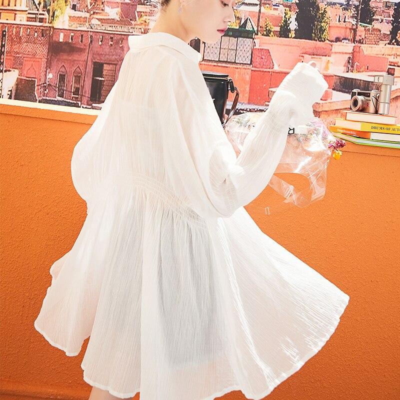 Samstree femmes Blouse blanche plissée pour l'été à manches longues coton grande taille Anti-lumière du soleil femme chemisier chemises Design montre de sport