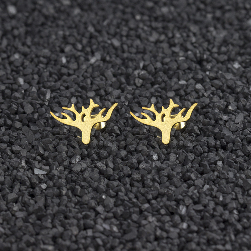 V Attract 2018 Animal Jewelry Punk Deer Stud Earrings For Women Gold Stainless Steel Antler Ohrringe Bijoux Femme image