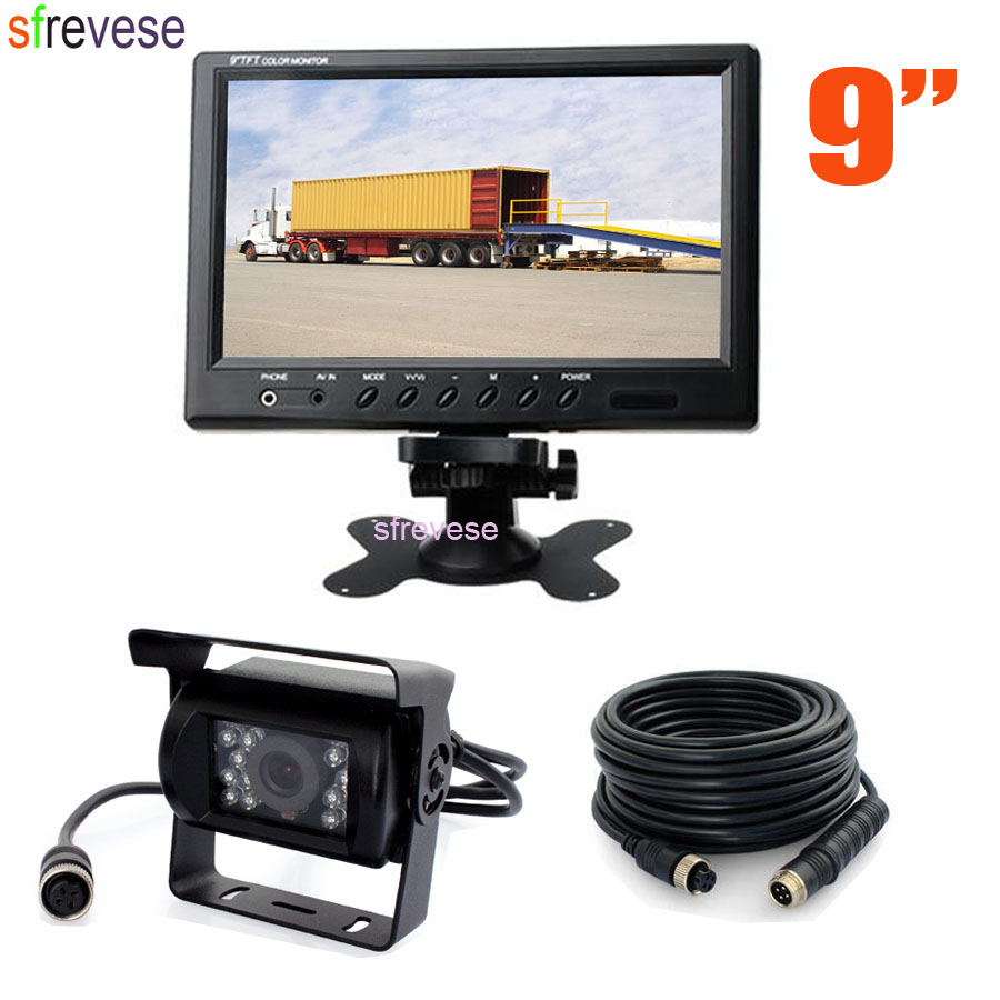 9 TFT LCD Monitor for Bus Truck Motorhome Waterproof 4Pin 18 LED Reversing Parking Backup Camera