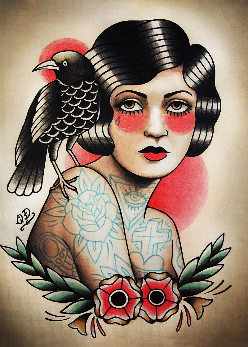 Vintage Tattoos design woman Patterned Posters Kraft paper Interior Painting Restoring Wall Sticker Barber shop Home Decor