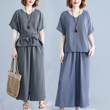 #0900 Summer V Neck Plaid T Shirt And Wide Leg Pants Women Tie Bow Loose Two Piece Set Top And Pants Plus Size Woman Clothes недорого