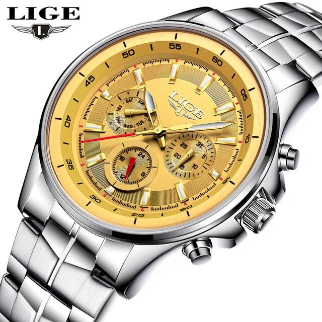 bb56eec51d0 LIGE Marca de Luxo Relógios de Ouro Homens Relógio de Quartzo dos homens  Relógio de Aço