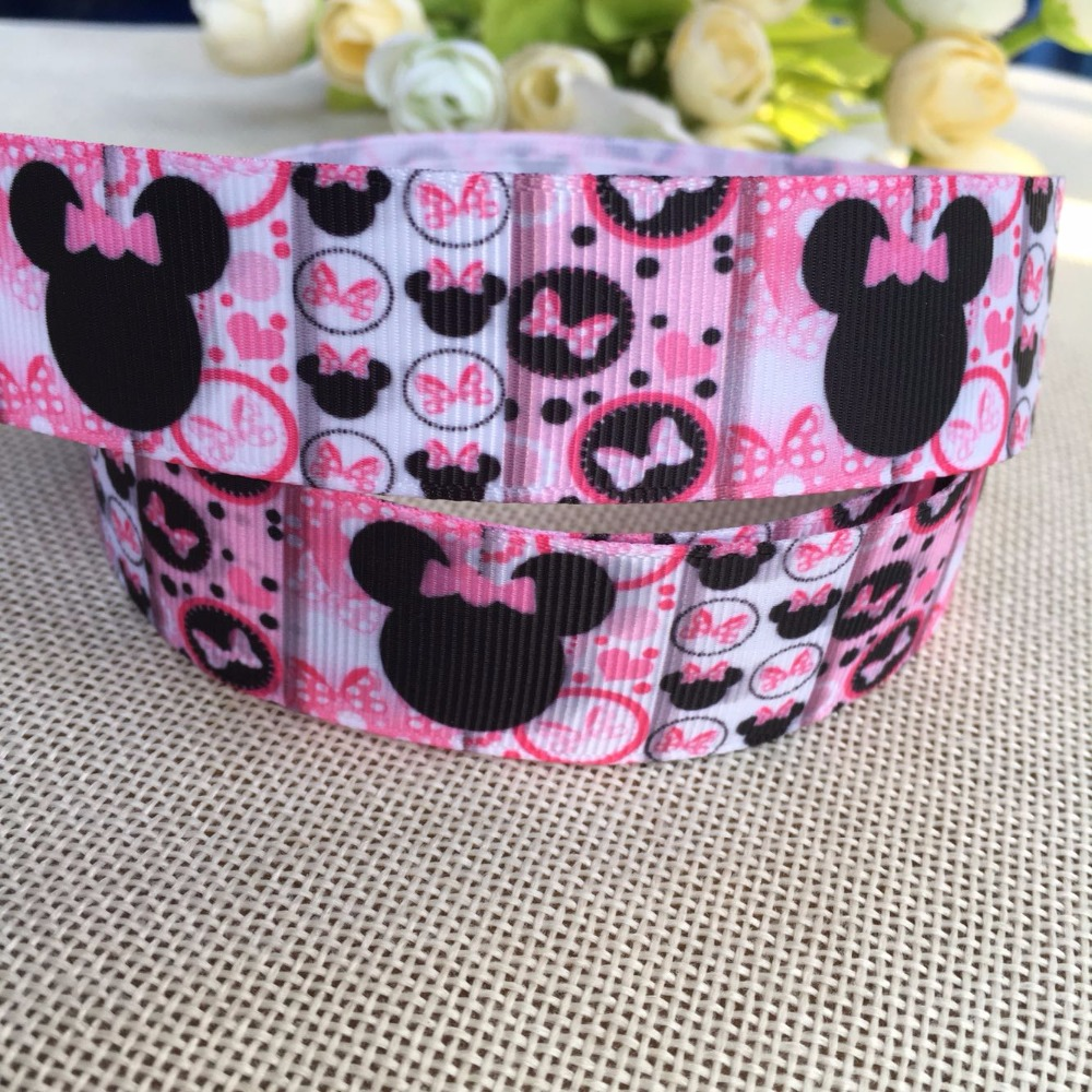 1 (25mm) 5yard Minnie Mickey Mouse ribbon grosgrain ribbon,cloth accessories,gift package party ribbon,child DIY