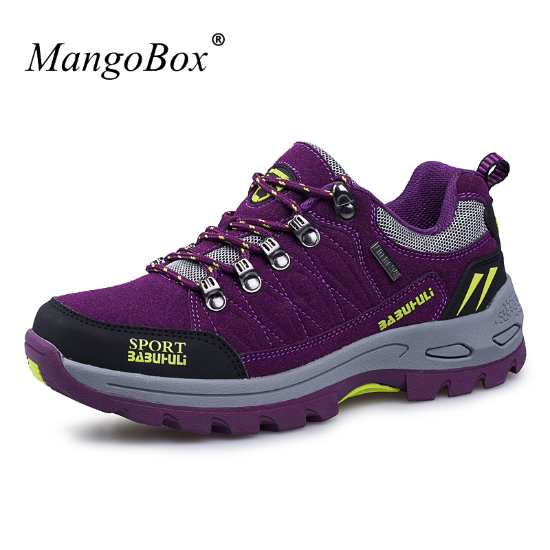 Mangobox New Arrival Women Mountain Shoes Leather Women Trekking Hiking Sneakers Purple Ladies Trekking Boots Cheap