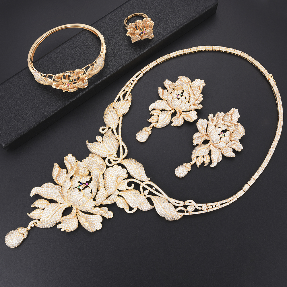 4 pièces de luxe chrysanthème cubique zircone nigérian dubai ensembles de bijoux de mariage collier boucles d'oreilles Bracelet anneau bijoux pour les femmes