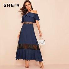 e984f489ef SHEIN Navy Glamorous Halter Off The Shoulder Lace Insert Ruffle Maxi Dress  Summer Women Solid Elegant High Waist Party Dress
