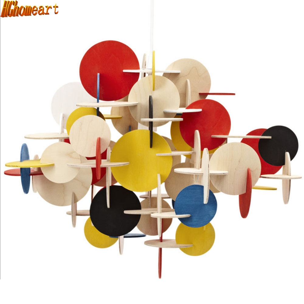 HGhomeart Kids Room Art Cartoon Chandelier Wooden Building Blocks Colorful Colorful Bedroom Chandelier E27 LED Light