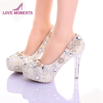 Luxury Handmade Pearls Prom Party Shoes Ivory Stiletto Heels Women Leather Platform Bridal Shoes Beautiful Crystal Dress Shoes