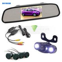 DIYSECUR 4.3 Inch Wireless Video Parking Radar 4 Sensors Rear View Monitor Mirror Car Monitor + LED Rear View Car Camera