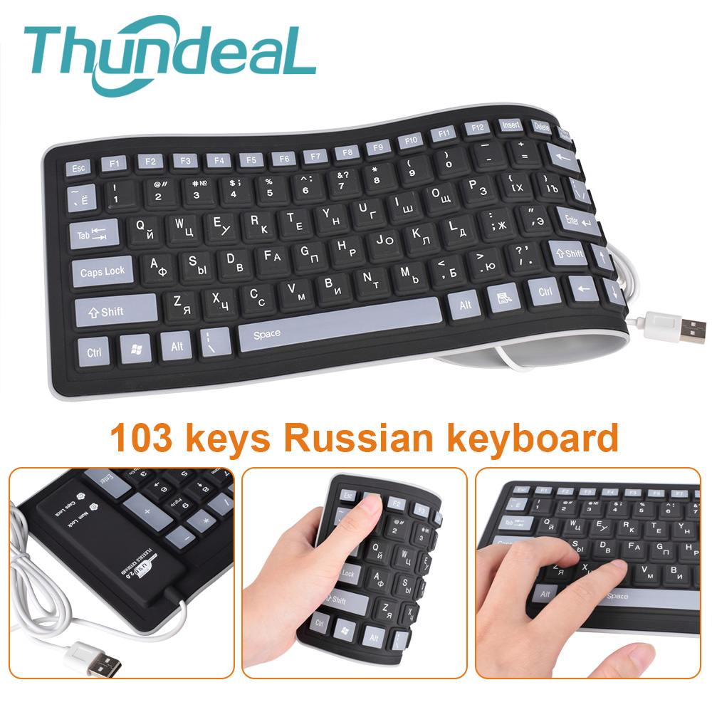 Russian-Keyboard Wired Layout Usb-Interface Laptop Pc Desktop Silicon Flexible Teclado title=