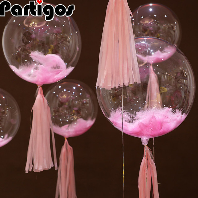1pc 18inch Transparent No Wrinkle helium balloons bubbles ball feather Pink Black Blue wedding party baby birthday decoration