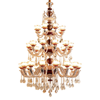 Gold Chandelier Ceiling for Hall Suspended Lamp Red Crystal Chandeliers Glass Shade Chandelier on the Stairs luminaires stair
