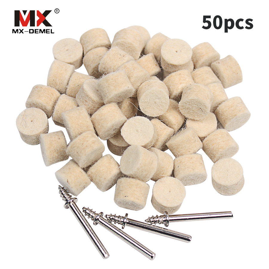 MX-DEMEL 50Pcs 13mm Wool Felt Polishing Buffing Wheel Grinding Polishing Pad+4Pcs Shanks For Dremel Rotary Tool Accessories
