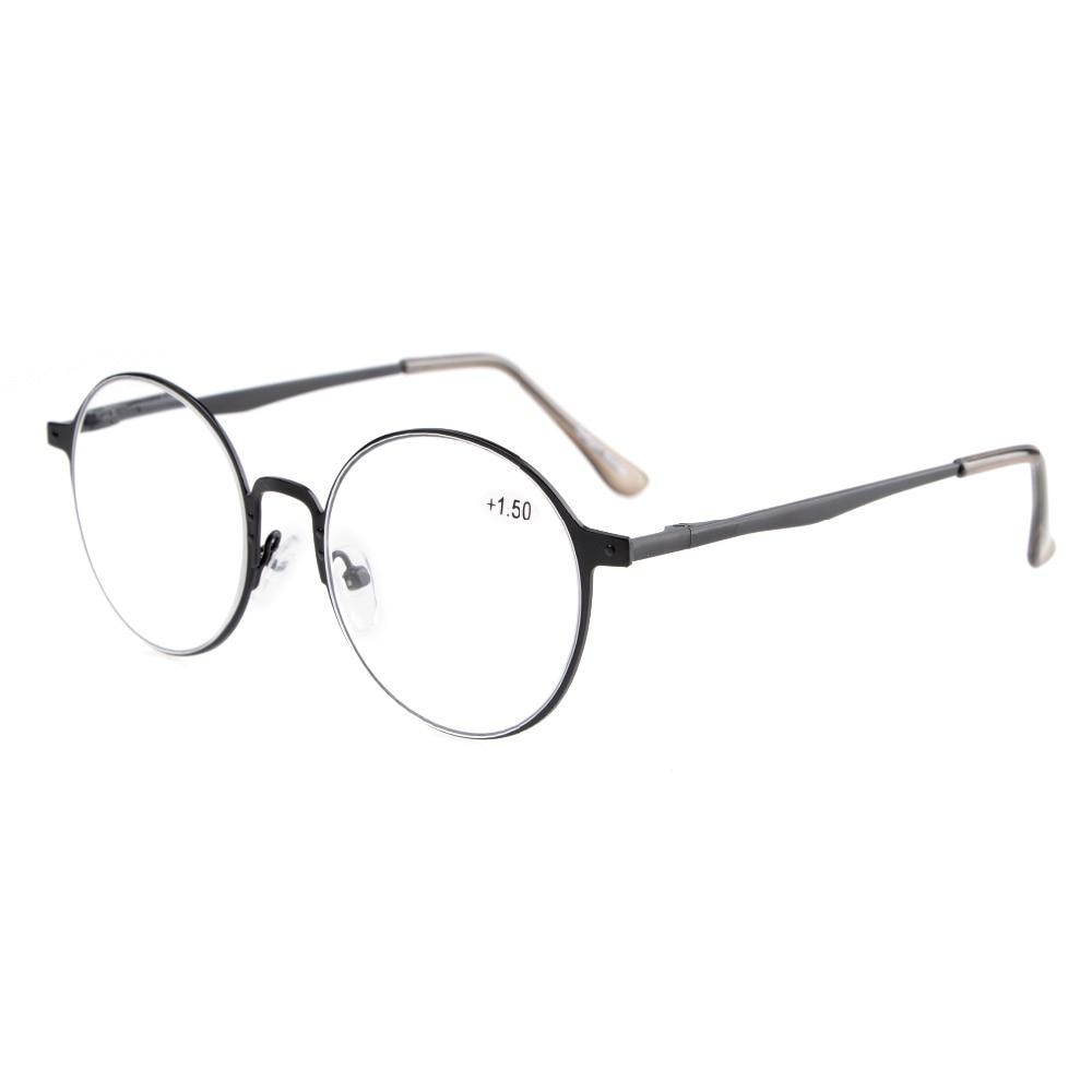 Leitores Eyekepper R15044 Qualidade Primavera Hings Retro Redondos óculos  de Leitura + 0.0 0.5  230f3da517