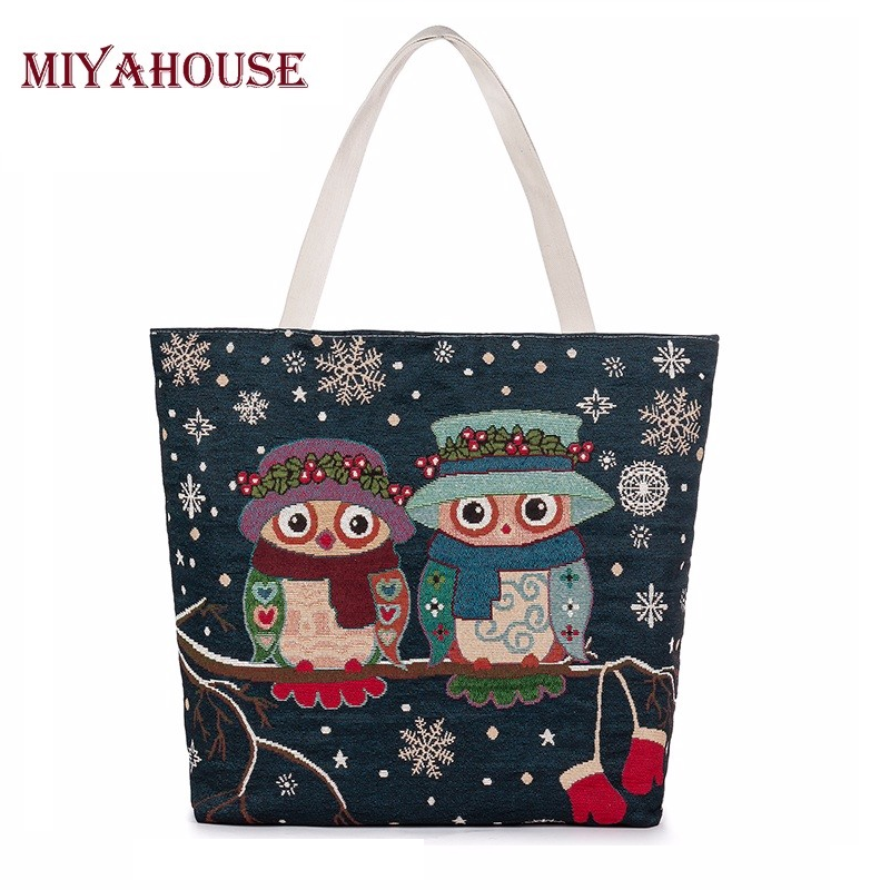 Miyahouse Hot Sale Women Canvas Bag Cute Owl Printed Tote Female Beach Bag Large Capacity Shoulder Shopping Bags Floral Handbag miyahouse cute cat printed beach bag women large capacity shopping bags vintage female single shoulder bag canvas ladies handbag