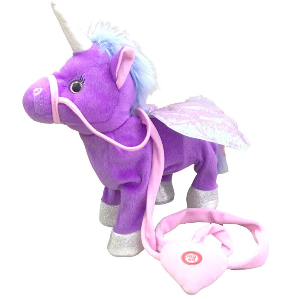 Dropshipping Magic Walking Unicorn Plush Toy Stuffed Animal Toy Electronic Music Newborn player Toy for Children Christmas Gifts цена