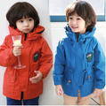 2016  autumn children's clothes boys jackets fashion solid high collar long trench coats for boys kids hooded outerwear jacket