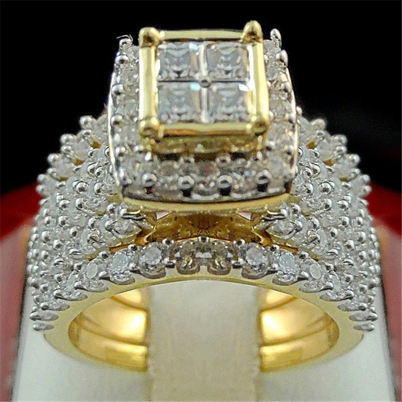 18K Gold Diamond Princess Ring set Luxury Engagement Anillo white topaz Bizuteria for Women Men jewelry Gemstone