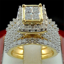 18K Gold Diamond Princess Ring set Luxury Engagement Anillo white topaz Bizuteria for Women Men jewelry Gemstone