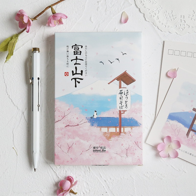 30Sheets/Set Cherry Blossoms Under Mount Fuji Postcard Greeting Card Christmas And New Year Gifts