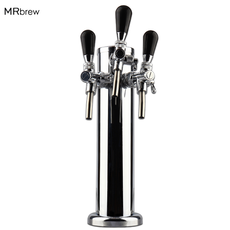 Draft Triple Beer Tower With Adjustable Beer Faucet Tap Stainless Steel Homebrew Bar Fit KegeratorDraft Triple Beer Tower With Adjustable Beer Faucet Tap Stainless Steel Homebrew Bar Fit Kegerator