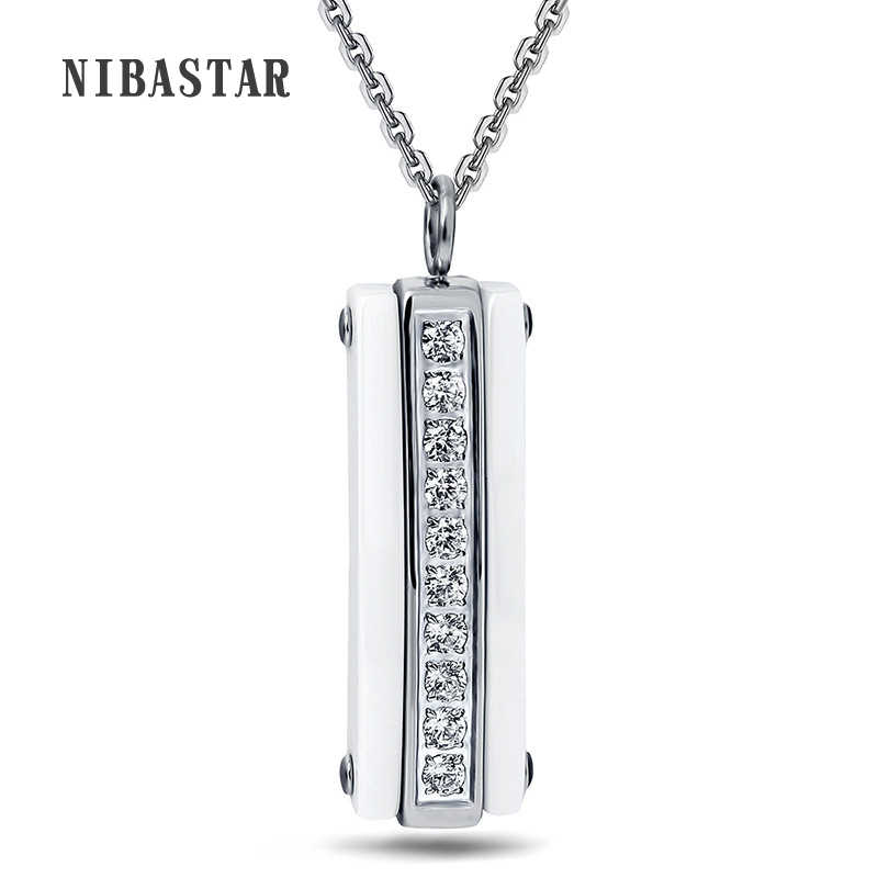 Fashion White Black Ceramic CZ Crystal Pendant Necklace For Women High Quality Stianless Steel Necklace Women Jewelry Decoration