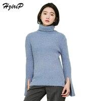 Hzirip Elegant Knitted Sweater Autumn Winter White Blue Pullovers Women Tops Slim Turtleneck Solid Full Sleeve