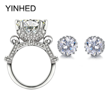 Lujo Real 925 Dubai Sistemas de La Joyería Nupcial AAA + Grande CZ Anillo de Bodas de Diamante y Stud Aretes para Las Mujeres ZS040
