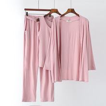 Cotton 3 Pieces Pajamas Set For Women Round-neck Long Sleeve