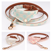 New Print Floral Pet Cat Dog Collar Neck Strap Dog Neckerchief Bibs Bandana Scarf Leads Rope leash