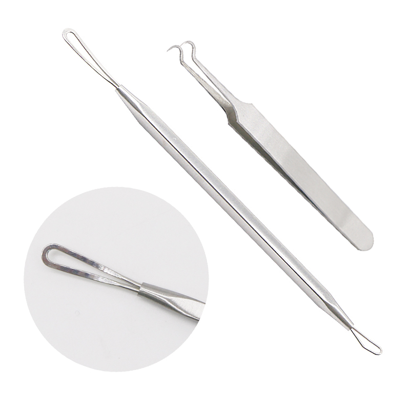 2Set Black Spots Cleaner Tweezers Black Head Remover Tool Acne Extractor Blackhead Blemish Beauty Whitehead Removal Needle