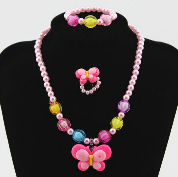 1set Cute Imitation Pearl Beads Charming Butterfly Necklace Bracelets Kids Baby Girls new Jewelry accessories Children Xmas Gift
