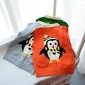 2017 весна и осень новый дети мальчики свитер джемпер свитер случайные свитер жилет ребенок пингвина мультфильм свитер