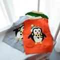 2017 de primavera y otoño nuevos muchachos de los niños suéter suéter chaqueta de punto informal suéter chaleco bebé de dibujos animados de pingüinos