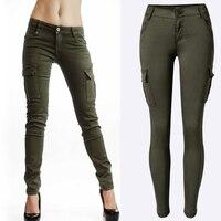 Hot Women Sexy Army Green Pockets Design Pants jeans Low Waist Slim Casual Long Pants Pencil Pants