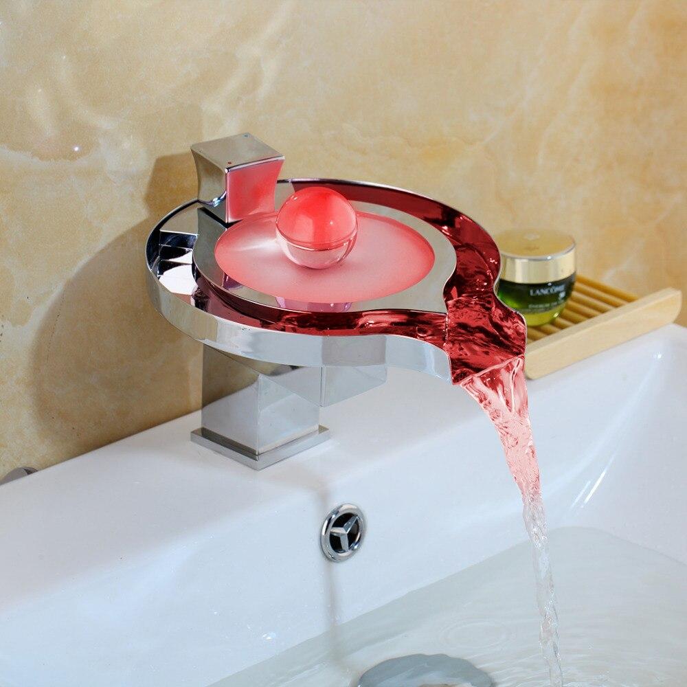 KEMAIDI Led robinet de salle de bain en laiton chromé cascade salle de bain bassin robinets 3 couleur changement robinet eau puissance bassin Led mélangeur robinet - 2