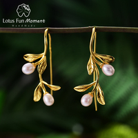 Lotus Fun Moment Real 925 Sterling Silver Natural Freshwater Pearl Fashion Jewelry Waterdrops from the Leaves Earrings for Women