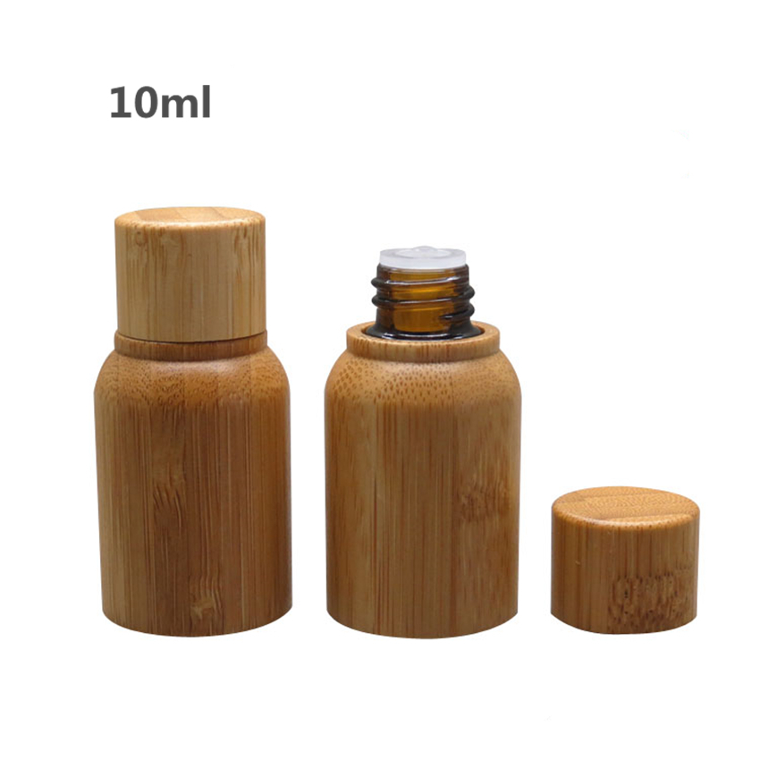 10Pcs High Quality Bamboo Glass Essence Oil Bottle 10ml Refillable Glass Bottle For DIY Essential Oil