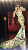 Китайский стиль пикантная открытая с длинным шлейфом рыбий хвост юбка сценические костюмы для взрослых ночной клуб открытия Одежда для тан