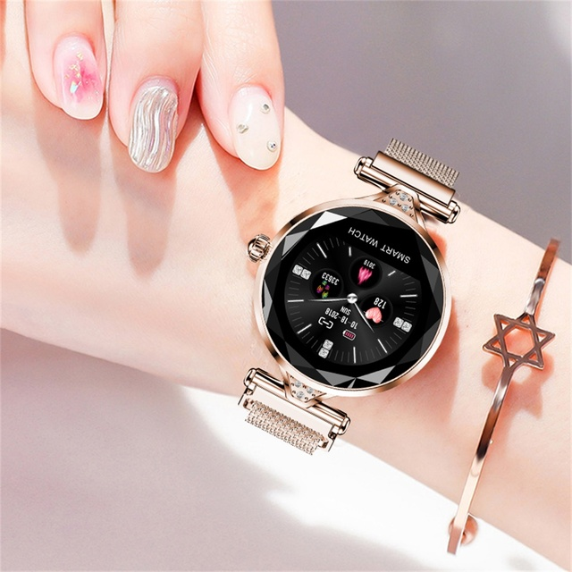 696 H1 Fashion Women Smart Bracelet Watch Heart Rate Blood Pressure Fitness Tracke Wristband Diamond Smartwatch IP67 Waterproof 3