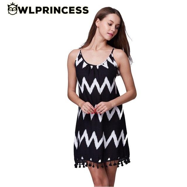 8e62ac50fb2a Owlprincess 2016 New summer women dress fashion casual loose ladies dresses  short wavy tassel backless beach Sling sexy dress