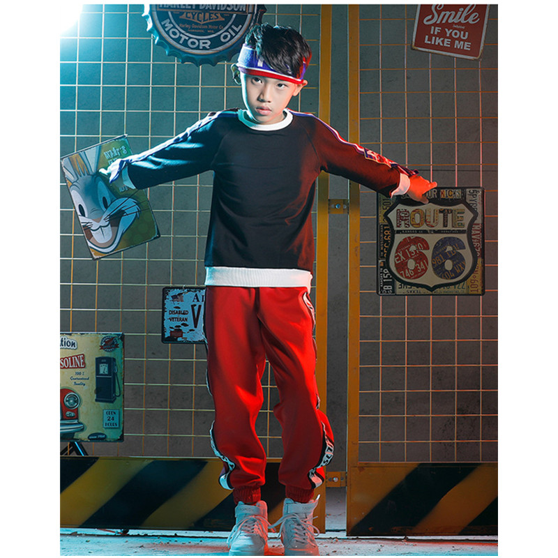 Korean Children Boys hip-hop Practice Pants Costumes Sets Jazz Dance Suit Girls Street Clothes Christmas Party Clothing