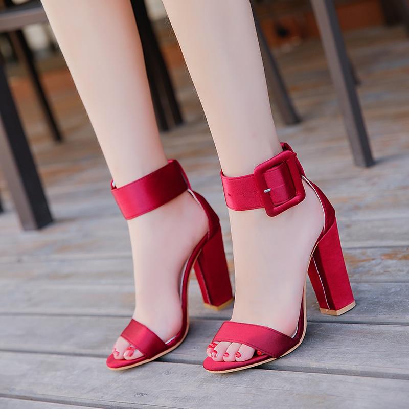 Woman Sandals Ankle Strap Buckle Pumps Women High Square Heels Shoes Peep Toe Summer Feminino Gladiator Sandals OR914975 woman sandals ankle strap buckle pumps women high square heels shoes peep toe summer feminino gladiator sandals or914975