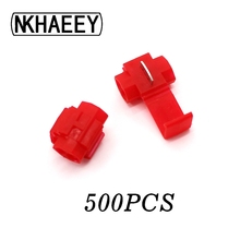 500PCS Red Scotch Lock Electric Wire Cable Connector Quick Splice Terminals Crimp Nondestructive Without Breaking Line AWG 22-18 20pcs wire terminals quick wiring connector cable clamp awg 22 18