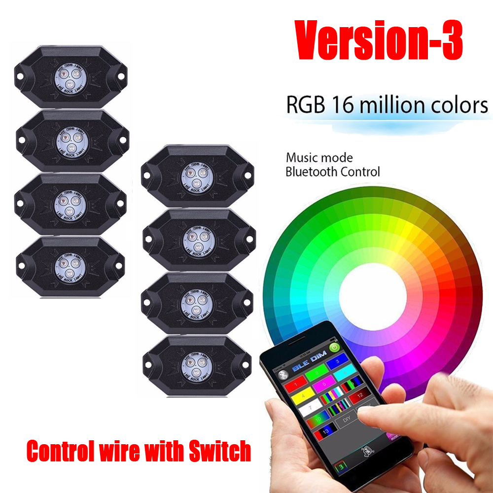 8 Pods RGB Led Rock Lights Multi Color with Bluetooth Control Box Wiring Harness & Switch Fog Light for Offroad Boat Truck Jeep