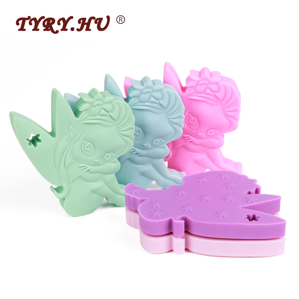 TYRY.HU 1Pcs Cartoon Fairy Baby Teethers Food Grade Baby Silicone Teething Toys BPA Free DIY Child Pacifier Chain Necklace Tools