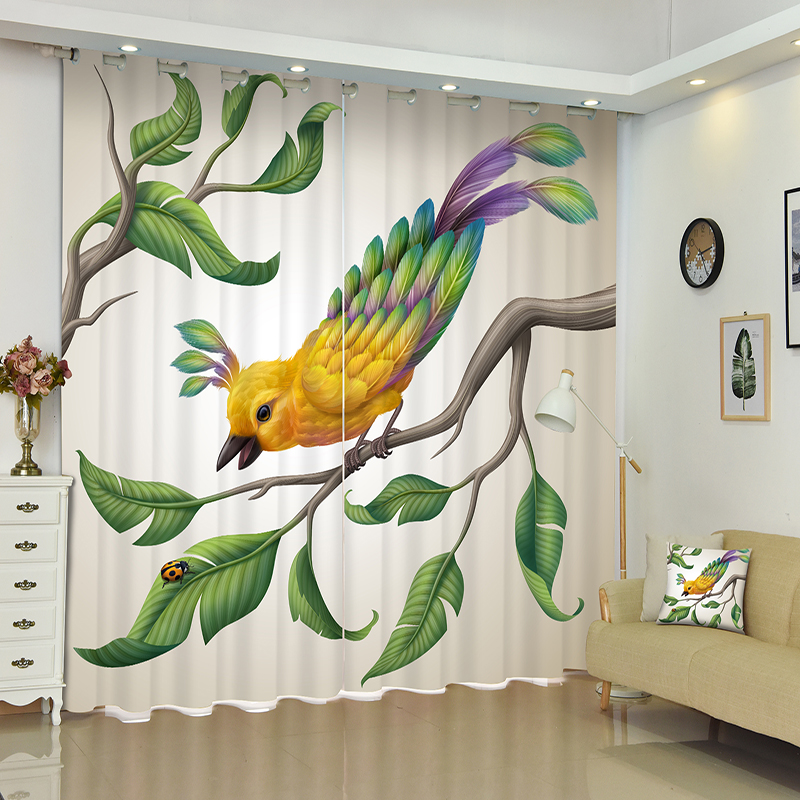 New Cafe Hotel 3D Blackout Curtains Tropical Rain Forest Strange Flowers Pattern Thicken Fabric Bedroom Curtains for Living Room in Curtains from Home Garden