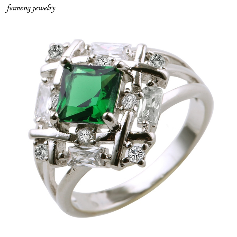 Weave Shaped Round Cut Clear CZ White Gold Color Cubic Green Purple Zirconia Pave Rings Marca Jewelry for Women Hot Anillos