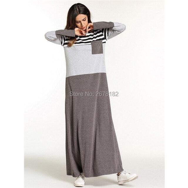 d7b399bc84850 US $13.57 44% OFF|Fashion Muslim Abaya Stripe Maxi Dress Kimono Long Robe  Gowns Tunic Loose Style Jubah Ramadan Middle East Arab Islamic Clothing-in  ...